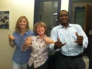 Barbara Barrett, LABBB Payroll, Linda Durette, Transportation Coordinator, Kerson Belizaire, LABBB Tech, are all Zooming!