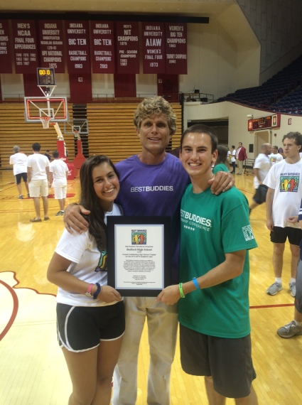 Arianna Dines, Bedford High School Vice President, Anthony Shriver, Ben Driscoll, Bedford High Best Buddies President