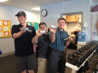 Brian Guay, Nick Boiven, David Kaiser showing off their MMC I.D.'s